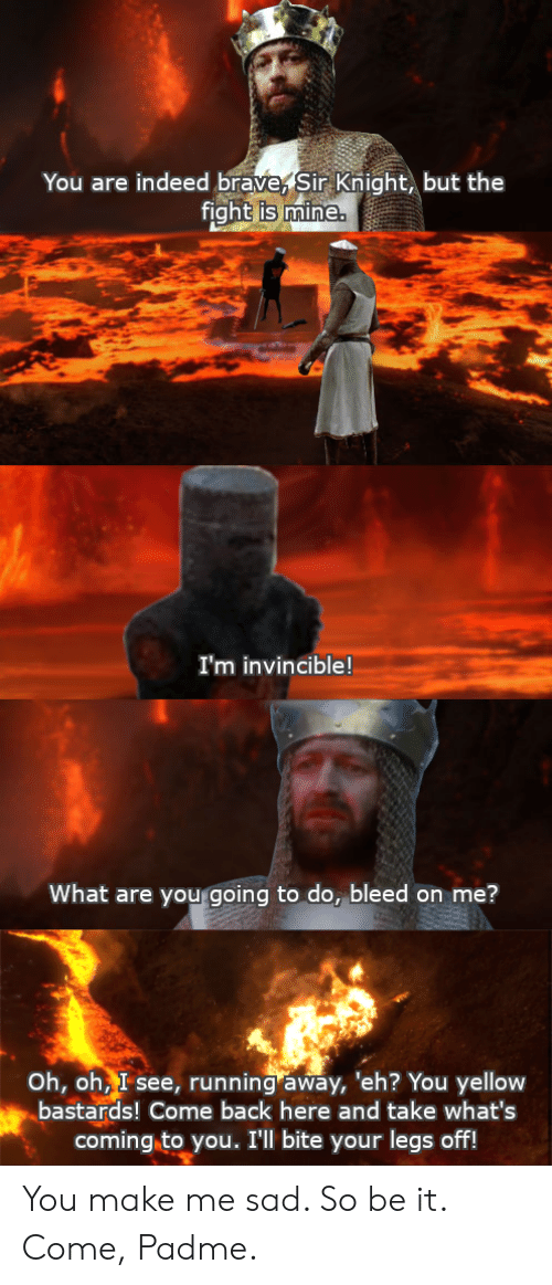 Brave, Indeed, and Sad: You are indeed brave, Sir Knight, but the  fight is mine.  I'm invincible!  What are you going to do, bleed on me?  Oh, oh, I see, running away, 'eh? You yellow  bastards! Come back here and take what's  coming to you. I'll bite your legs off! You make me sad. So be it. Come, Padme.