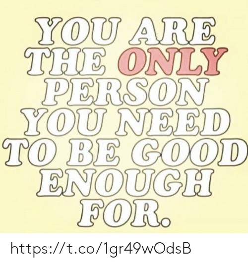 Memes, Good, and 🤖: YOU ARE  THE ONLY  PERSON  YOU NEED  TO BE GOOD  ENOUGH  FOR. https://t.co/1gr49wOdsB
