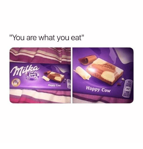 "Happy, Girl Memes, and Cow: ""You are what you eat""  Happy Cow  Happy Cow"