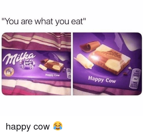 "Memes, Happy, and 🤖: ""You are what you eat""  Happy Cow  Happy Cow  5%* happy cow 😂"