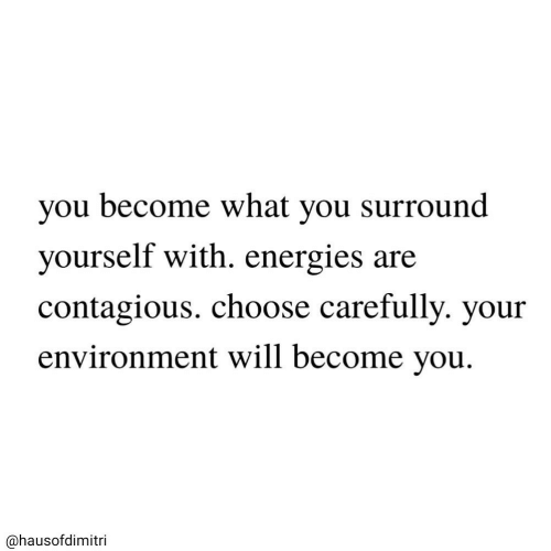 Contagious, Will, and You: you become what you surround  yourself with. energies are  contagious. choose carefully. your  environment will become you  @hausofdimitri