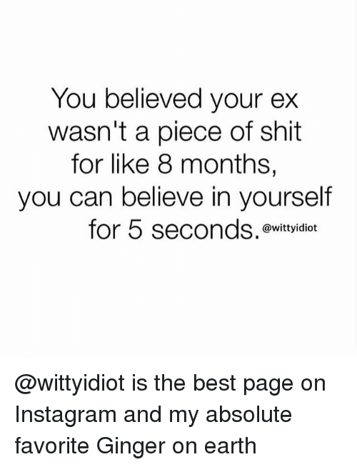 gingerly: You believed your ex  wasn't a piece of shit  for like 8 months,  you can believe in yourself  for 5 seconds.  @wittyidiot @wittyidiot is the best page on Instagram and my absolute favorite Ginger on earth