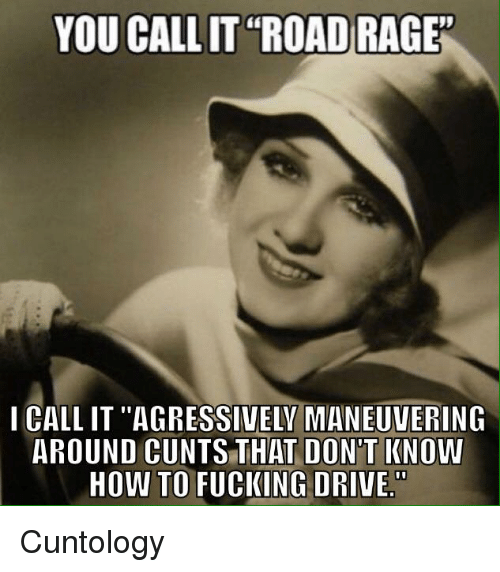 "agressive: YOU CALLIT ""ROAD RAGE""  I CALLIT ""AGRESSIVELY MANEUVERING  AROUND CUNTS THAT DON'T KNOW  HOW TO FUCKING DRIVE Cuntology"