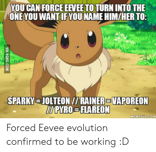 Evolution, Pyro, and Her: YOU CAN FORCE EEVEETOTURN INTO THE  ONE YOU WANT IF YOU NAME HIM/HER TO;  SPARKY.三JOLTEON //RAINER VAPOREON  PYRO-FLAREON  MEMEFUL.COM Forced Eevee evolution confirmed to be working :D