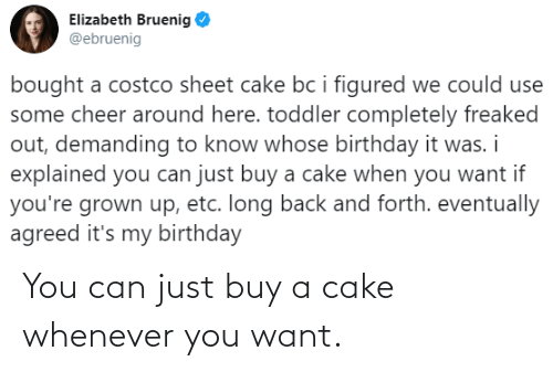 Buy: You can just buy a cake whenever you want.