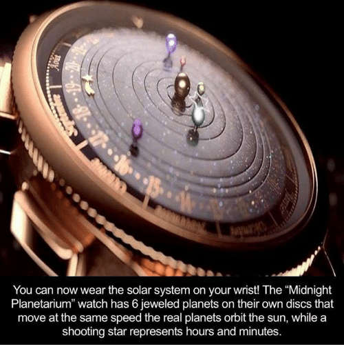 """shooting stars: You can now wear the solar system on your wrist! The """"Midnight  Planetarium"""" watch has 6 jeweled planets on their own discs that  move at the same speed the real planets orbit the sun, while a  shooting star represents hours and minutes."""