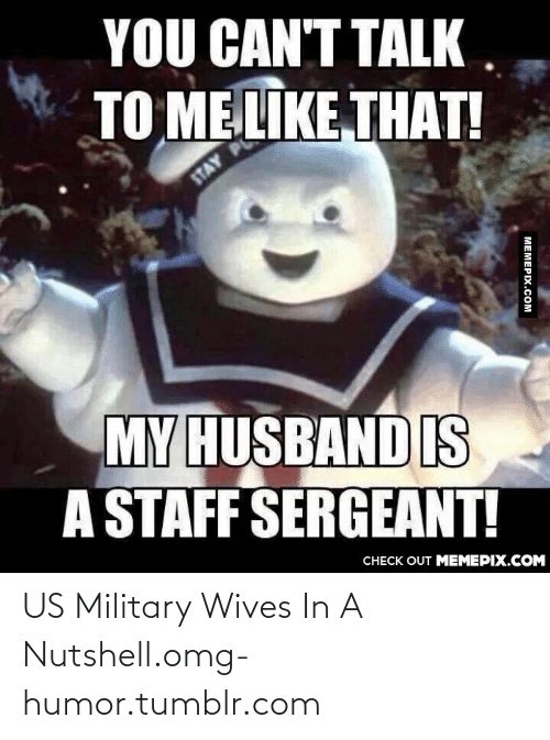 staff sergeant: YOU CAN'T TALK.  TO ME LIKE THAT!  STAY  MY HUSBAND IS  A STAFF SERGEANT!  CHECK OUT MEMEPIX.COM  MEMEPIX.COM US Military Wives In A Nutshell.omg-humor.tumblr.com