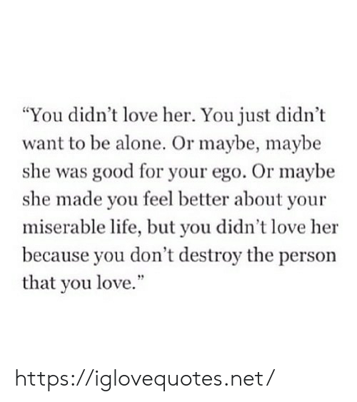 "But You Didnt: ""You didn't love her. You just didn't  want to be alone. Or maybe, maybe  she was good for your ego. Or maybe  she made you feel better about your  miserable life, but you didn't love her  because you don't destroy the person  that you love."" https://iglovequotes.net/"