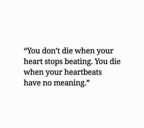 "Dont Die: ""You don't die when your  heart stops beating. You die  when your heartbeats  have no meaning.""  32"