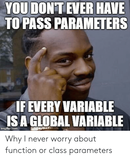 function: YOU DON'T EVER HAVE  TO PASS PARAMETERS  IF EVERY VARIABLE  IS A GLOBAL VARIABLE  imgflip.com Why I never worry about function or class parameters