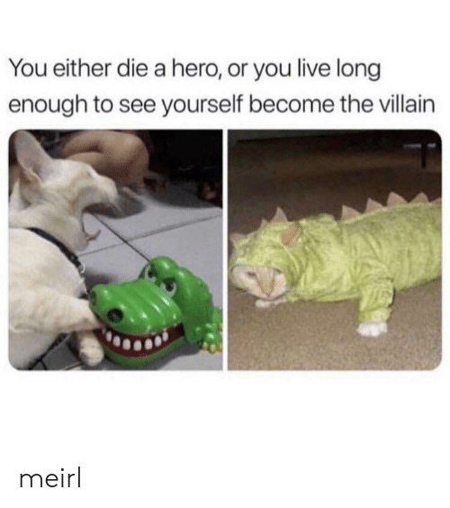 you either die a hero: You either die a hero, or you live long  enough to see yourself become the villain meirl