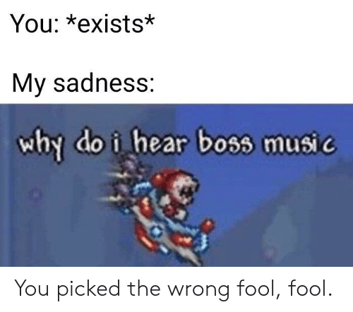 Music, Boss, and Why: You: *exists*  My sadness:  why do i hear boss music You picked the wrong fool, fool.