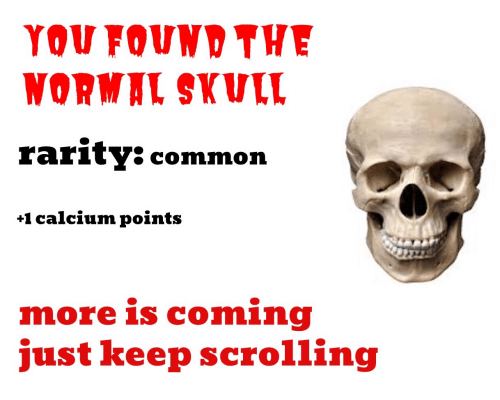Keep Scrolling: YOU FOUND THE  WORMAL SKULL  rarity: common  +1 calcium points  more is coming  just keep scrolling