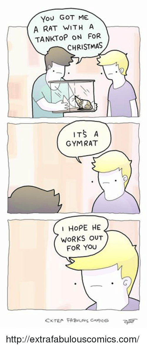 Extrafabulouscomics: You GOT ME  A RAT WITH A  TANKToP ON FOR  CHRISTMAS  ITS A  GYMRAT  IHOPE HE  WORKS oUT  FOR YOU http://extrafabulouscomics.com/