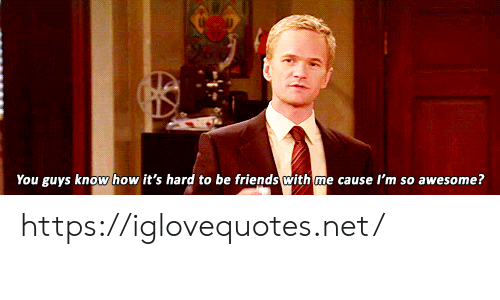 Friends, Awesome, and How: You guys know how it's hard to be friends with me cause I'm so awesome? https://iglovequotes.net/