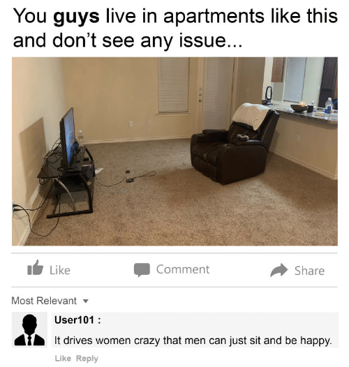 Crazy, Happy, and Live: You guys live in apartments like this  and don't see any issue...  Comment  Like  Share  Most Relevant  User101:  It drives women crazy that men can just sit and be happy.  Like Reply