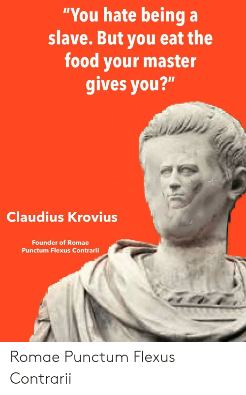 "Food, Anarchy, and Founder: ""You hate being a  slave. But you eat the  food your master  gives you?""  Claudius Krovius  Founder of Romae  Punctum Flexus Contrarii Romae Punctum Flexus Contrarii"