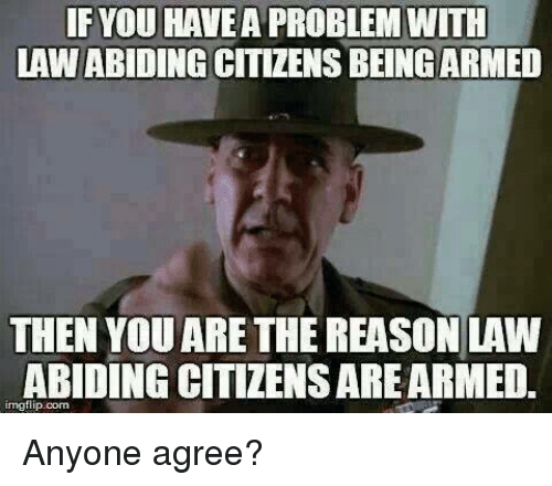 Law Abiding Citizen: YOU HAVE A PROBLEM WITH  LAW ABIDING  CITIZENS BEING ARMED  THEN YOU ARE THE REASON LAW  ABIDING CITIZENSAREARMED.  inngflip com Anyone agree?