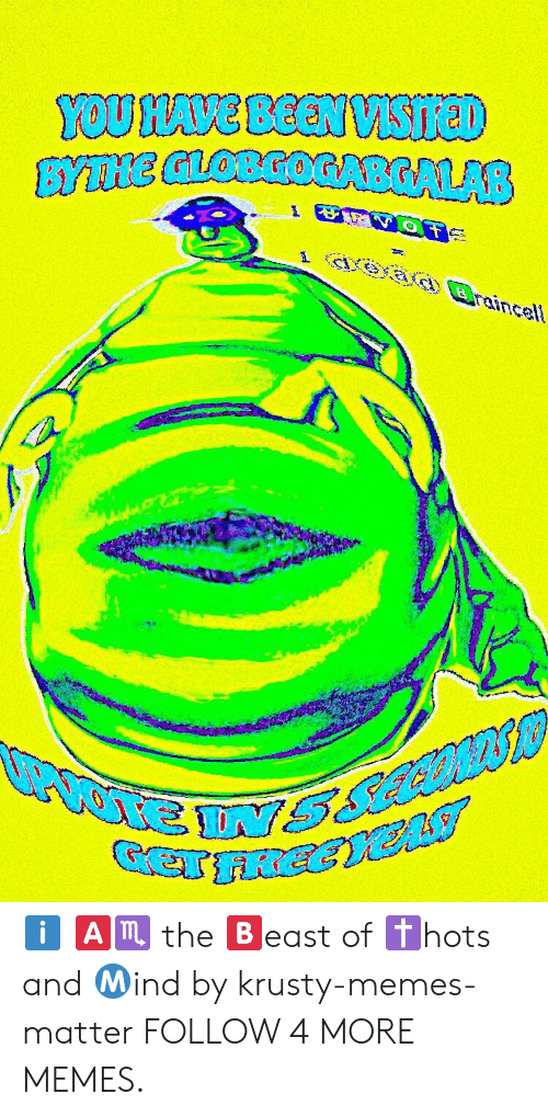Deepfriedmemes: YOU HAVE BEEN VSIreD  BYTNE GLOBGOGABGALAB  aead Braincell ℹ️ 🅰️♏️ the 🅱️east of ✝️hots and Ⓜ️ind by krusty-memes-matter FOLLOW 4 MORE MEMES.