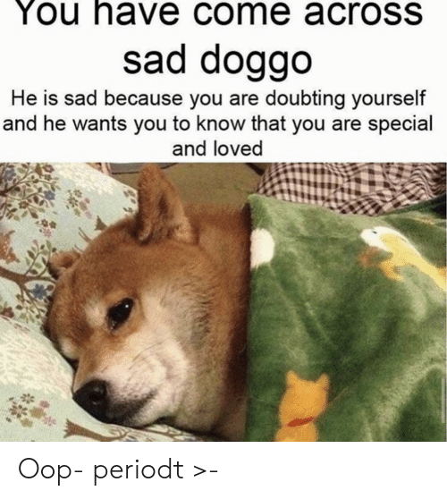 Periodt: You have come acroSS  sad doggo  He is sad because you are doubting yourself  and he wants you to know that you are special  and loved Oop- periodt >-