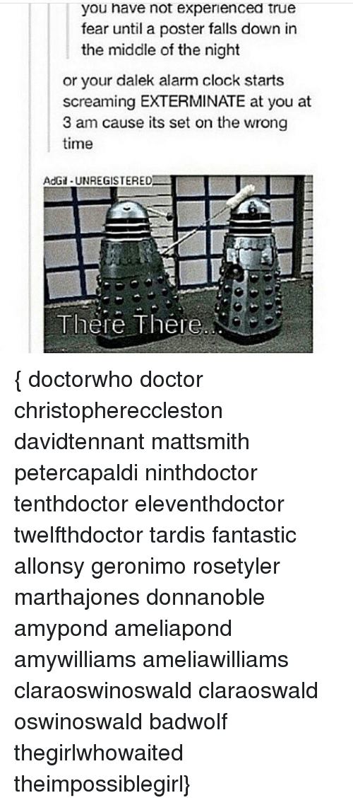 posterization: you have not experienced true  e  not  expenenced  true  fear until a poster falls down in  the middle of the night  or your dalek alarm clock starts  screaming EXTERMINATE at you at  3 am cause its set on the wrong  time  AdGi-UNREGISTERED  There There { doctorwho doctor christophereccleston davidtennant mattsmith petercapaldi ninthdoctor tenthdoctor eleventhdoctor twelfthdoctor tardis fantastic allonsy geronimo rosetyler marthajones donnanoble amypond ameliapond amywilliams ameliawilliams claraoswinoswald claraoswald oswinoswald badwolf thegirlwhowaited theimpossiblegirl}