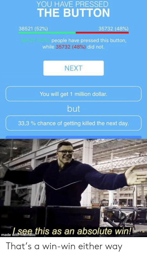 Next, Day, and Will: YOU HAVE PRESSED  THE BUTTON  35732 (48%)  38521 (52%)  98521 48221people have pressed this button,  while 35732 (48%) did not.  NEXT  You will get 1 million dollar.  but  33,3 chance of getting killed the next day.  see this as an absolute win!!  made witfmematic That's a win-win either way