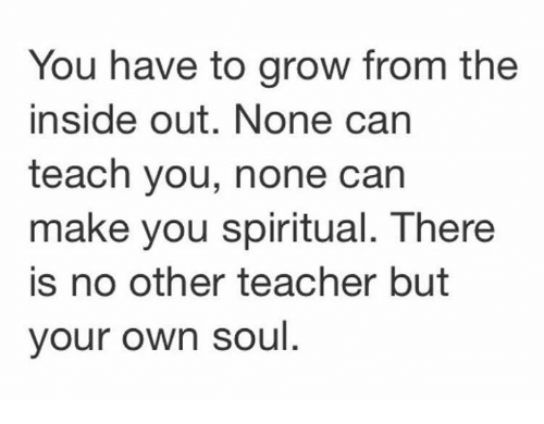 spiritualized: You have to grow from the  inside out. None can  teach you, none can  make you spiritual. There  is no other teacher but  your own soul