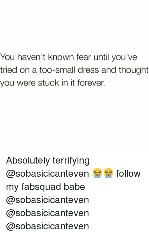 Funny, Dress, and Forever: You haven't known fear until you've  tried on a too-small dress and thought  you were stuck in it forever. Absolutely terrifying @sobasicicanteven 😭😭 follow my fabsquad babe @sobasicicanteven @sobasicicanteven @sobasicicanteven