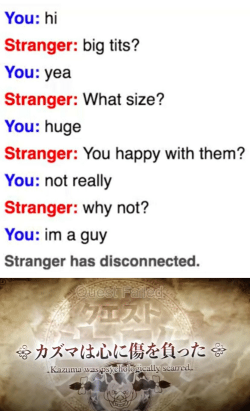 huge: You: hi  Stranger: big tits?  You: yea  Stranger: What size?  You: huge  Stranger: You happy with them?  You: not really  Stranger: why not?  You: im a guy  Stranger has disconnected.  Quest Falled  令カズマは心に傷を負った  Kazuma was psychologically scarred.