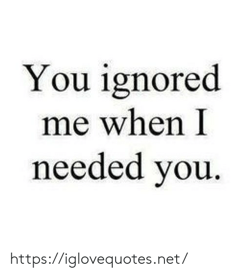 Net, You, and Href: You ignored  me when I  needed you https://iglovequotes.net/