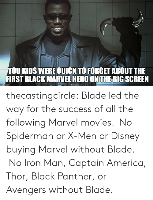big screen: YOU KIDS WERE QUICK TO FORGET ABOUT THE  FIRST BLACK MARVEL HERO ON THE BIG SCREEN  mgi p.com  Nosedecine.com thecastingcircle:  Blade led the way for the success of all the following Marvel movies. No Spiderman or X-Men or Disney buying Marvel without Blade. No Iron Man, Captain America, Thor, Black Panther, or Avengers without Blade.