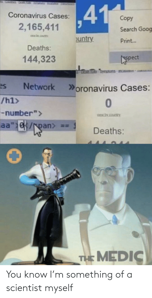 something: You know I'm something of a scientist myself
