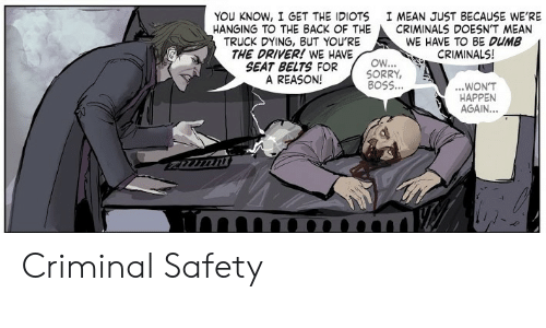 Dumb, Sorry, and Mean: YOU KNOW, I GET THE IDIOTS  HANGING TO THE BACK OF THE  TRUCK DYING, BUT YOU'RE  THE DRIVER! WE HAVE  SEAT BELTS FOR  A REASON!  I MEAN JUST BECAUSE WE'RE  CRIMINALS DOESN'T MEAN  WE HAVE TO BE DUMB  CRIMINALS!  OW...  SORRY,  BOSS...  ...WON'T  HAPPEN  AGAIN...  imn Criminal Safety