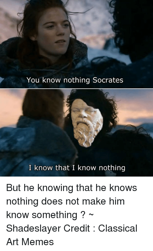 Classic Art: You know nothing Socrates  I know that I know nothing But he knowing that he knows nothing does not make him know something ? ~ Shadeslayer  Credit : Classical Art Memes