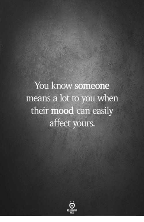 Mood, Affect, and Can: You know someone  means a lot to you when  their mood can easily  affect yours.
