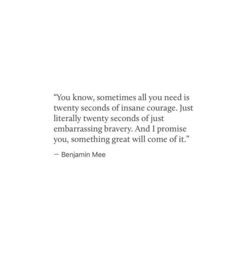 """Mee: """"You know, sometimes all you need is  twenty seconds of insane courage. Just  literally twenty seconds of just  embarrassing bravery. And I promise  you, something great will come of it.""""  Benjamin Mee"""