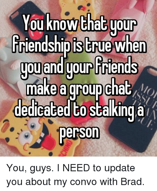 Brads: You know that your  friendship is true when  you and your Friends  make a groupchat  dedicated PO stalking a  person You, guys. I NEED to update you about my convo with Brad.