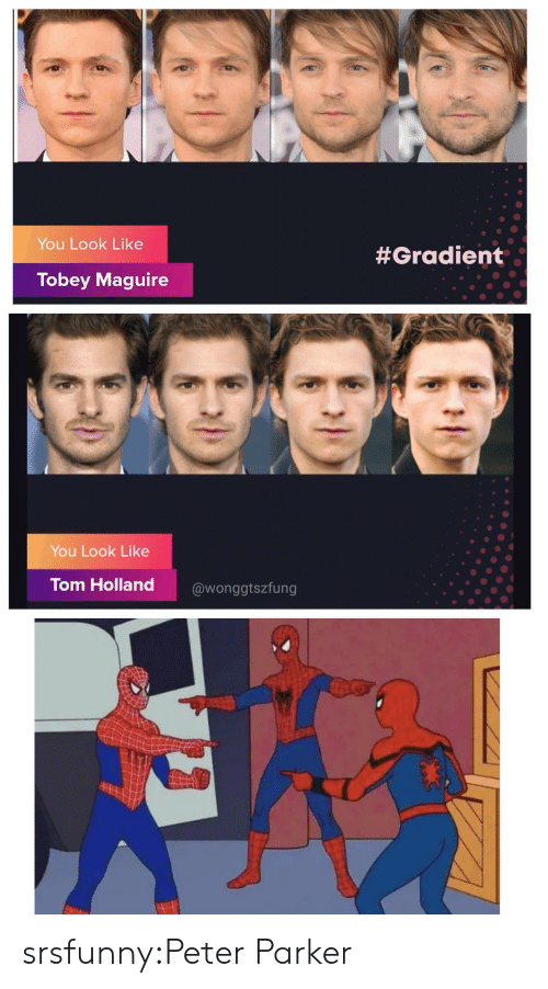 Maguire: You Look Like  #Gradient  Tobey Maguire  You Look Like  Tom Holland  @wonggtszfung srsfunny:Peter Parker