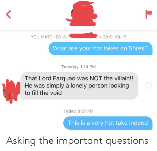Villain: YOU MATCHED WIT  ON 2019-09-17  What are your hot takes on Shrek?  Tuesday 1:14 PM  That Lord Farquad was NOT the villain!!  He was simply a lonely person looking  to fill the void  Today 8:21 PM  This is a very hot take indeed  L Asking the important questions