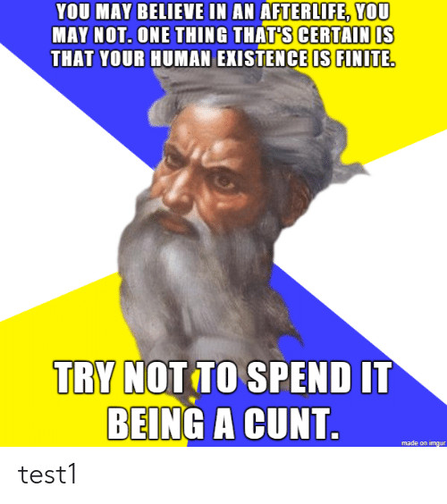 Cunt, Imgur, and Human: YOU MAY BELIEVE IN AN AFTERLIFE, YOU  AY NOT. ONE THING THATS CERTAIN IS  THAT YOUR HUMAN EXISTENCE IS FINITE  TRY NOT TO SPEND IT  BEING A CUNT  made on imgur test1