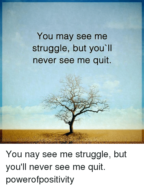 Quit You: You may see me  struggle, but you ll  never see me quit You nay see me struggle, but you'll never see me quit. powerofpositivity