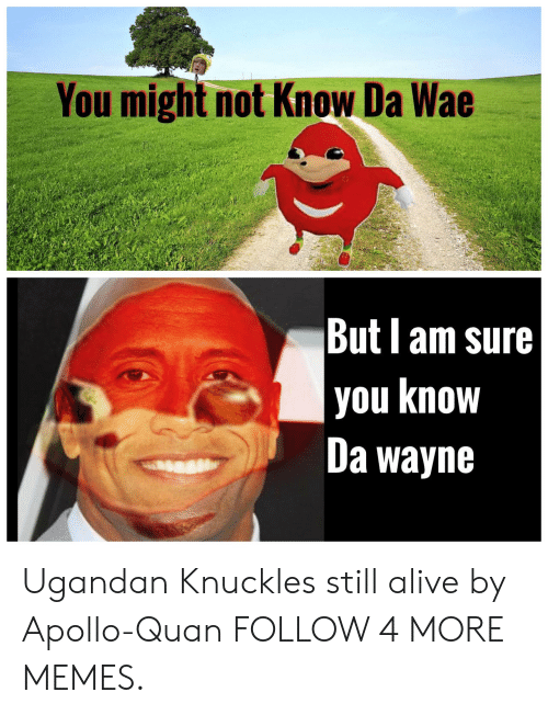 wae: You might not Know Da Wae  But am sure  you know  Da wayne Ugandan Knuckles still alive by Apollo-Quan FOLLOW 4 MORE MEMES.