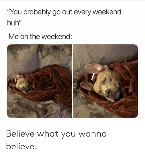 """Dank, Huh, and The Weekend: """"You probably go out every weekend  huh""""  Me on the weekend: Believe what you wanna believe."""