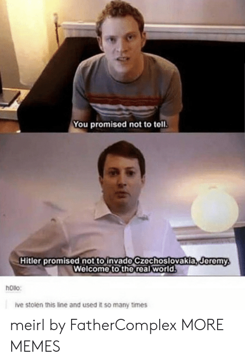 Dank, Memes, and Target: You promised not to toll.  Hitler promised not to invade czechoslovakia,deremy  Welcome to the real world  Jeremy  hoilo:  ive stolen this line and used it so many times meirl by FatherComplex MORE MEMES