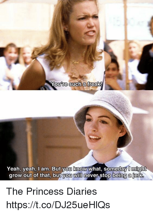 Such A Freak: You re Such a  freak!  Yeah, yeah, I am. But you know what, someday might  grow out of that, but you will  never stop being ajerke The Princess Diaries https://t.co/DJ25ueHlQs