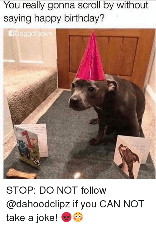 Birthday, Memes, and Happy Birthday: You really gonna scroll by without  saying happy birthday?  foggoNew  es STOP: DO NOT follow @dahoodclipz if you CAN NOT take a joke! 😡😳