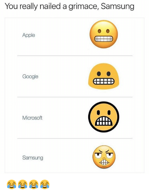 Apple, Google, and Microsoft: You really nailed a grimace, Samsung  Apple  Google  Microsoft  4TA  Samsung 😂😂😂😂