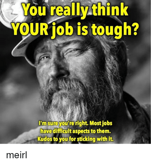 Jobs, Tough, and MeIRL: You really think  YOUR job is tough?  I'm sure you re right. Most jobs  have difficult aspects to them.  Kudos to you for sticking with it. meirl
