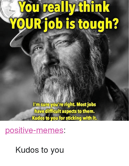 """Memes, Tumblr, and Blog: You really think  YOUR job is tough?  I'm sureyou re right. Most jobs  have diicultaspects to them.  Kudos to you for sticking with it. <p><a href=""""https://positive-memes.tumblr.com/post/166998439765/kudos-to-you"""" class=""""tumblr_blog"""">positive-memes</a>:</p><blockquote><p>Kudos to you</p></blockquote>"""