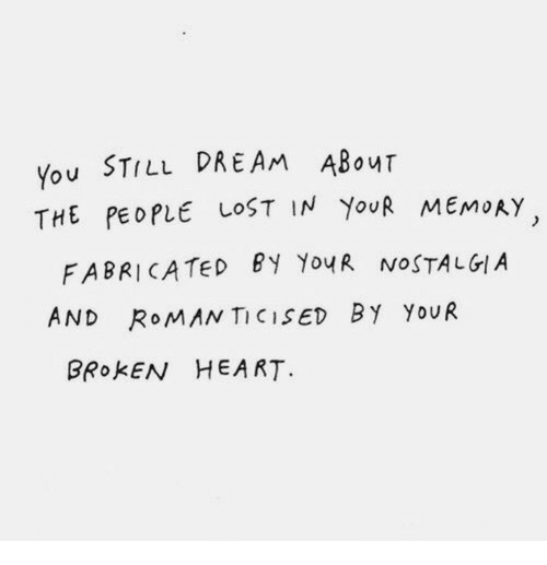 Lost, Heart, and Roman: You STILL DREAM ABouT  THE PEOPLE LOST IN YouR MEMoRY  FABRICATed By YouR NOSTALGI.A  AND RoMAN TICISED BY YoUR  BROKEN HEART
